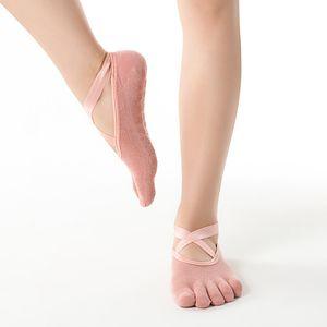 DHL Shipping! Cotton Long One-size Yoga Socks Five-finger Wear-resistant Non-slip Four Season Breathable Split Toe Point Plastic FloorFY6142