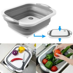 Zusammenklappbar Schneidebrett mit Seiher Faltbare Multifunktionsküchen Kunststoff Silikon Geschirr Tub Waschen und Entwässern Veggies Fruits Basket
