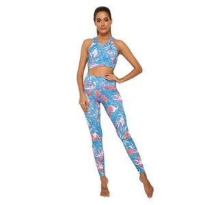 Women Printed Fitness Suits Running Leggings High Waist Pants Yoga sports Gym Set Summer Sportswear