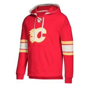 Hoodies do desenhador de Calgary Chamas Jersey Lace-Up Pullover Hoodie Vermelho Com Splicing Draw string Mangas compridas Costurado marca logotipo