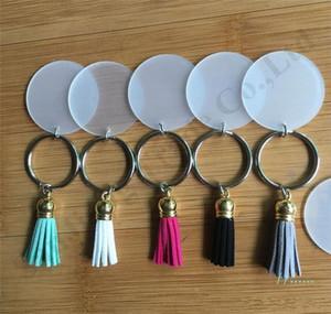 Çanta A110403 için Süet Püskül Plastik Yuvarlak Anahtarlık Tutucu Dekorasyon ile Vinil Anahtarlık Şeffaf Akrilik Disk Püskül Anahtarlık 4cm Boş Disk