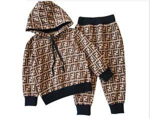hoodies e calças de marca das crianças ternos de algodão das crianças terno outono bebê meninas bebê esportes terno dos homens 2 / set K1