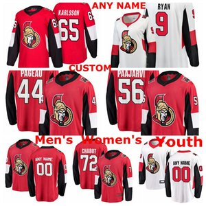 Ottawa Senators jerseys Bobby Ryan Jersey Erik Karlsson Thomas Chabot Magnus Pääjärvi Jean-Gabriel Pageau de hockey sobre hielo de los jerseys cosido personalizada