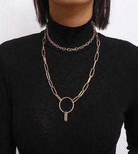 Punk Multi Layer Round Circle Long Necklace Statement Curb Cuban Thick Choker Necklace Collar For Women Men Jewelry