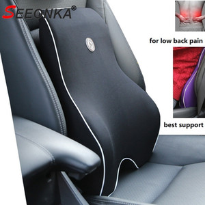 Car Cushion Seat Lumbar Support Office Chair Low Back Pain Pillow Memory Foam Black Posture Correction Car Product Dropshipping T200629