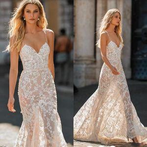 Sweetheart Spaghetti Mermaid Wedding Dresses 2019 Berta Backless Long Train Full lace Applique Garden Summer Beach Wedding Gown