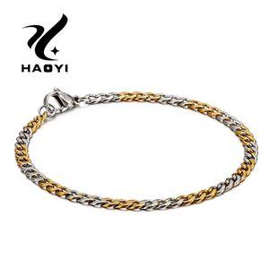 HAOYI Mode-Charme-Edelstahl-Paar-Armband-Dicke Kette, Armbänder-Armband-Gold-Farbe-Herren-Jewery Zwei Größen