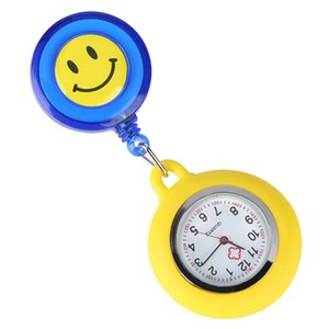 Durable Silicone Smiling Face Nurse Pendant Watches Retractable Rope with Stainless Steel Clip Luminous Pointers Pocket Watch