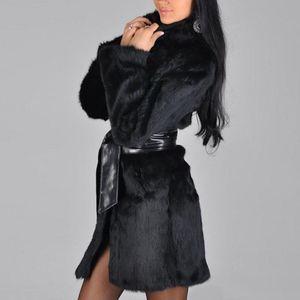 إمرأة سترة الشتاء النساء زائد الحجم القطيفة صوفية الجيب الصلبة عارضة معطف الدفء الأزياء حزام كم طويل معطف 5XL