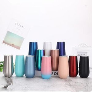 Egg Cups Stainless Steel Vacuum thermos Cup Water Bottle Champagne Insulated Wine Cup Solid Coffee Mugs Glass 6oz 10 color WY05Q