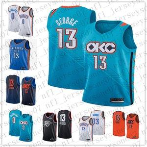 Erkekler oklahoma şehirThunder 0 RussellWestbrook 13 PaulGeorge turuncu mavi Gerileme Basketbol SürümünbaJersey
