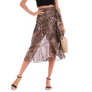 019 New Bikini Beach Rock Tuniken für Strand Long Leopard Print Bikini vertuschen Robe de Plage Sarong Badeanzug Vertuschungen