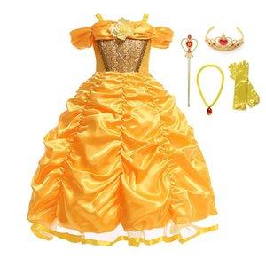 Cadılar Bayramı için Çocuk Shoulderless Katmanlı Topu Elbise kadar MUABABY Belle Cosplay Kostüm Kızlar Prenses Giydirme