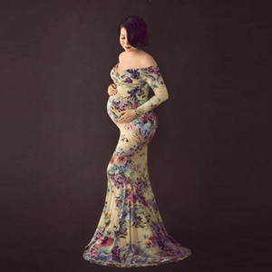 Hillsionly Mitality платья для беременных женщин беременные Pog Pog Spring Off Praph Print Print Print Vestido Embarazada