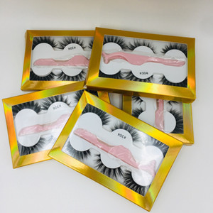 New 3 pairs of false eyelashes with tweezers 3D stereo multilayer thickened eyelashes 20 sets free shipping