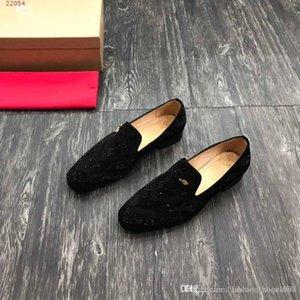 İnce Deri şerit deri işlemeli makosenler Yeni rahat moda trendi Erkekler rahat ayakkabılar siyah boyutu 38-47