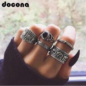 Boho-Silber-Farbe Elefant Blume Knuckle Midi Ring Set für Frauen Vintage schwarze Strass-Finger-Ring 5pcs / 1set 6222