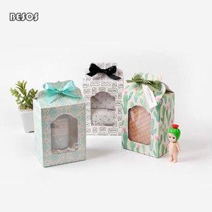 Fresh Simple White Background Letter Cactus Rhomboid Festival Celebration Party Doll Socks Wholesale Hollow Paper Gift Box B238D