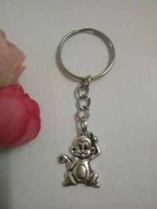 Sıcak 5pcs / lot Toptan moda Vintage Gümüş Sevimli küçük maymun Charm Anahtarlık Fit Anahtarlıklar Aksesuar Takı - 203