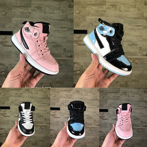 Chaud Sneaker d'hiver avec de la fourrure milieu Enfants Garçons cuir I 1s de basket-ball jeu chaussures ombre royal sneakers mid noir sport Chaussures de course