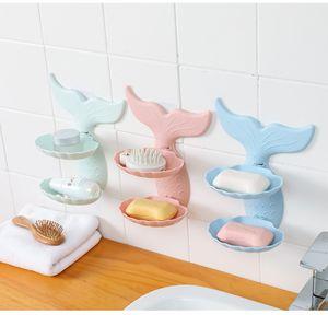 Mermaid Estilo Double Layer Saboneteira bonito sem parede rastreio Hanging Soap escorredor sabonete gratuito perfurador Titular 2020 Acessórios para Banheiro