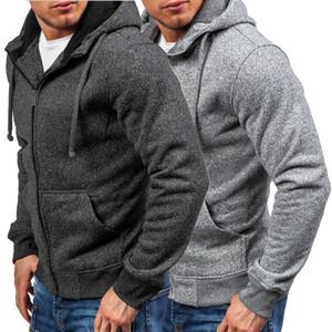 Yeni 2018 Erkekler Hoodie Casual Fleece Zip Yukarı Kapşonlu Ceket Kazak Fermuar Palto Üst M-3XL Cepler