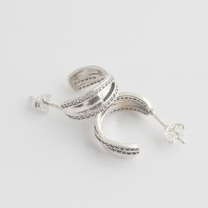 New Women Fine Silver Earring For Entwined Sterling With Crystal Gift Earring 925 Women Circles Wedding Earrings Diy Jewelry Kgpiw