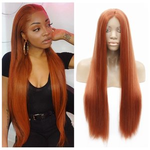 Cosplay Synthetic Lace Front Wig Silky Straight Orange Color Heat Resistant Fiber Hair Glueless Pastel Lace Front Wig for Women