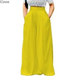 Doyerl Mujeres Pantalones Palazzo sueltos ocasionales Pantalones de talle alto con pierna ancha Pantalones largos de culottes plisados Pantalones elásticos con bolsillos Y19051701