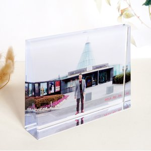 Customized personalized Crystal wedge shape Wedding Photo present Baby Friends Family Lover Gifts Decoration keepsake