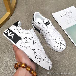 Erkek Kadın Sneaker KARIŞIK YILDIZ BASKI NAPPA DERİ PORTOFINO SNEAKERS Kadın Erkek Kadın Beyaz Deri Sneakers ayakkabılar 35-45 kutusunu Ayakkabı