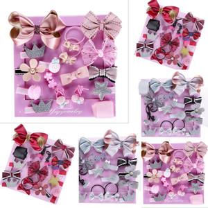 Clip Pudcoco 18Pcs / Set Horquilla de pelo de la niña de la flor del arco mini Barrettes estrella infante Headwear