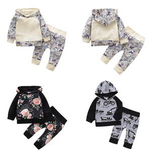 Детские Cartoon Hooded наборов для новорожденных Маленького Цветочного Hoodie Детских Повседневного одежды для малышей мальчиков Рукава реглан автомобилей мультфильм Печатных SPLICE костюмов 06