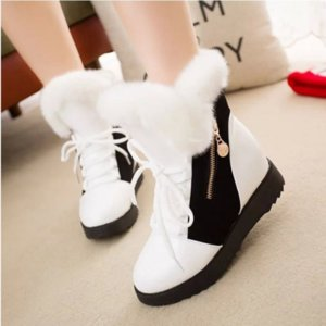 Snowshoe Frauen 2018 Herbst / Winter New Interior Trend Aufstockung Woll Short Boots Schnürsystem mit Fleece Warm Cotton Boots Female