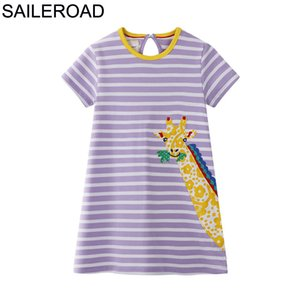 SAILEROAD Little Girls Vestido com animal girafa Applique 2020 vestidos de verão crianças para meninas roupas de algodão vestido Crianças