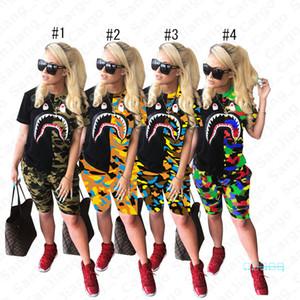 Las mujeres 2pcs de la ropa del camuflaje Boca del tiburón Imprimir traje de verano Deportes manga corta camiseta Top tees Pantalones cortos del chándal traje de camuflaje 3XL E5402