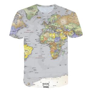 Mens World Map 3D Impresso Designer Tshirts Crew Neck pulôver Tops Contraste Manga Curta Mens Verão roupa colorida