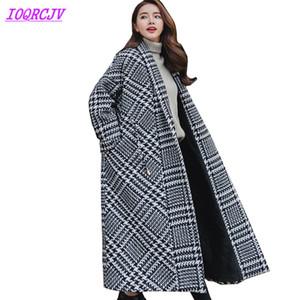 Jaqueta de lã Mulheres Inverno Houndstooth Casacos De Lã tamanho Grande longo Outerwear Grosso Quente Solto pano Casacos IOQRCJV Q035