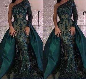 Amazing Prom Dresses 2019 원 숄더 스팽글 레이스 짙은 녹색 분리형 기차 새틴 테일 이브닝 드레스 Vestidos De Festa Formal Dresses