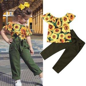 2-7Y tout-petits enfants bébé fille Vêtements Sets Tournesol Off Tops épaule + longues Pantalons d'été Tenues Set CY200515