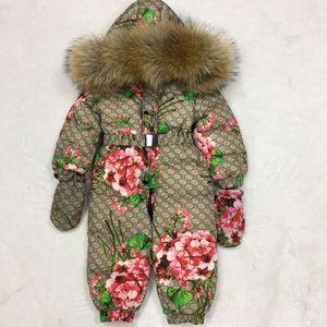 Designers bebê Casacos de Down Brasão menina / menino neve desgaste Romper Marca Crianças Jumpsuit Enfant gola de pele de guaxinim impermeável Snowsuit Carnaval