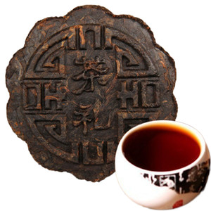 357g Ripe Pu Er Tea Yunnan Mooncake shape good flower round moon Pu er Tea Organic Pu'er Oldest Tree Cooked Puer Natural Black Puer Tea Cake