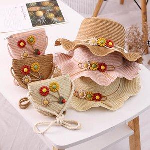 New 2020 Summer sweet girls hats+bags 2pcs set flower kids hats fashion bucket hat girls straw hat kids beach hats kids accessories B1216