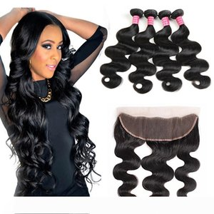 Ear to Ear Lace Frontal Closure With 4Bundles Body Wave 8A Mongolian Virgin Hair Weaves Body Wave Bundles Human Hair Extension And Closures