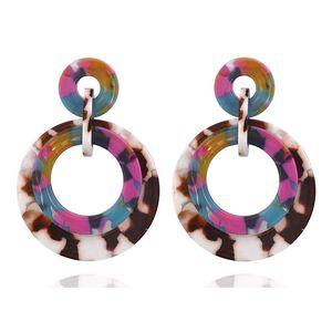 Multicolor Acrylic Big Round Drop Earrings for Women Girls Trendy Granite Patter Geometry Statement Dangle Earrings Jewelry Cheap Wholesale