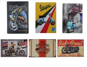 오토바이 빈티지 공예 주석 로그인 레트로 금속 페인팅 골동품 철 포스터 바 펍 징후 벽 아트 스티커