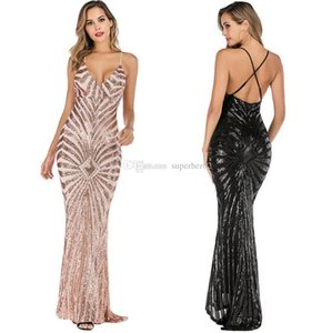 Sexy dress sling backless long dress deep V-neck skirt strong elastic sequin mopping dress upscale aristocrat Close-fitting gifts