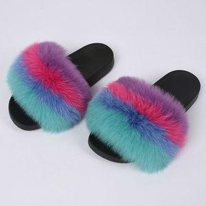 Fashion Design Slides reale pelliccia di Fox Pantofole Arcobaleno sandali colore misto Indoor Slipper Outdoor