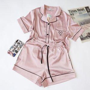 Daeyard Seta Pigiama manica corta donne Loungewear Pigiama raso Femme sexy Pijama Sleepwear 2 pezzi Set da Pj Homewear T200612