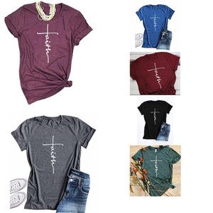 Womens Designer T Shirt Letter Faith Printing Tops Casual New Short Sleevs 2020 Summer Womens Luxury Designer Clothes 6 Colors